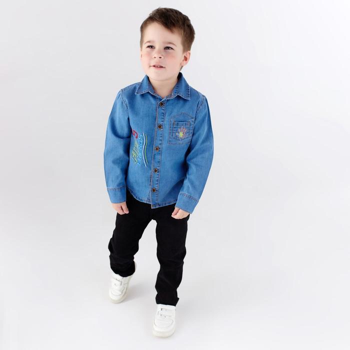 Рубашка для мальчика, цвет голубой, рост 104 см - фото 1937250