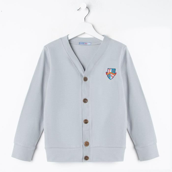 Школьный кардиган для мальчика, цвет серый, рост 140 см - фото 1944790