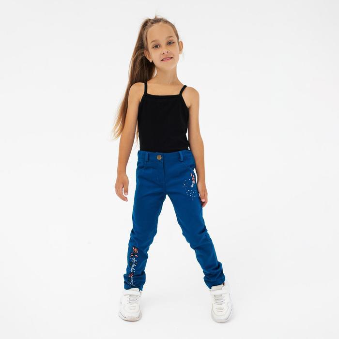 Брюки для девочки, цвет синий, рост 128 см - фото 76509363