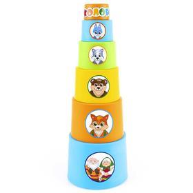 Пирамидка мягкая стаканчики «Колобок», с наклейками