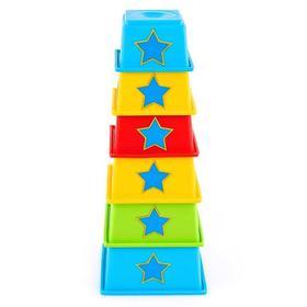 Пирамидка мягкая стаканчики «Дидактика», с наклейками