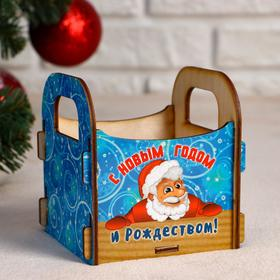 """Кашпо деревянное """"С Новым Годом и Рождеством! Санта"""", 10×10.5×11 см"""