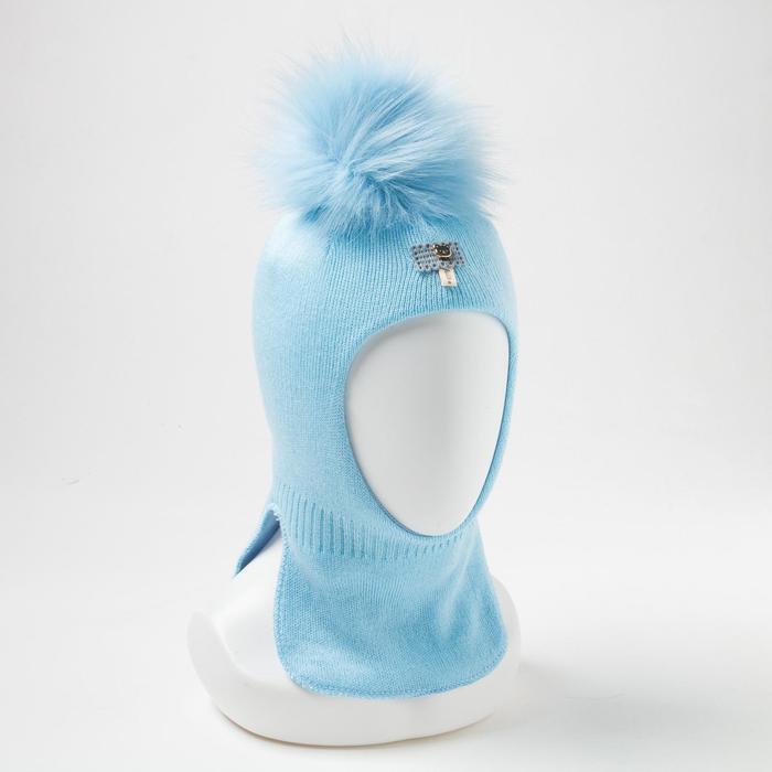 Шапка-шлем для мальчика, цвет голубой, размер 41-44 см (6-9 мес.) - фото 105567182