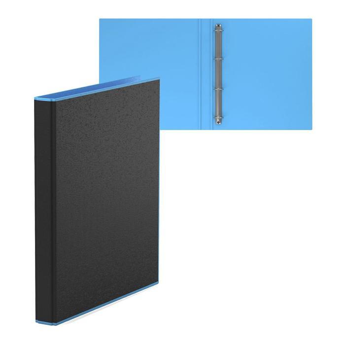 Папка на 4 кольцах А4, ErichKrause Accent, 35 мм, 1750 мкм, черная/голубая - фото 310049834