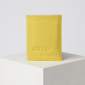 Обложка для автодокументов 2 в 1 (с портмоне), цвет жёлтый