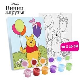 """Картина по номерам """"Медвежонок с шарами"""" 20 х 30 см, Медвежонок Винни и его друзья"""