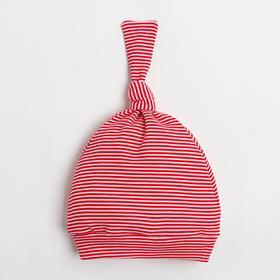 """Чепчик (шапочка) Крошка Я """"Полоса"""", красный, р.46"""