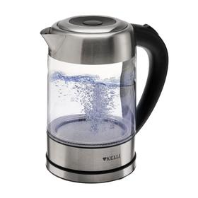 Чайник электрический KELLI KL-1371, 2200 Вт, 1.7 л, подсветка, серебристый