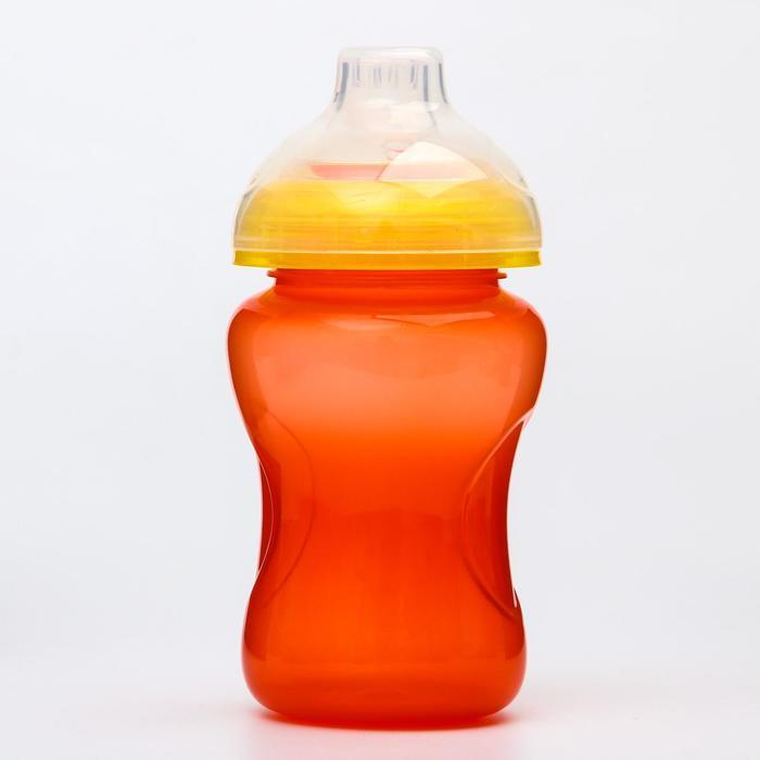 Поильник детский с мягким носиком, 300 мл., цвет оранжевый - фото 495311