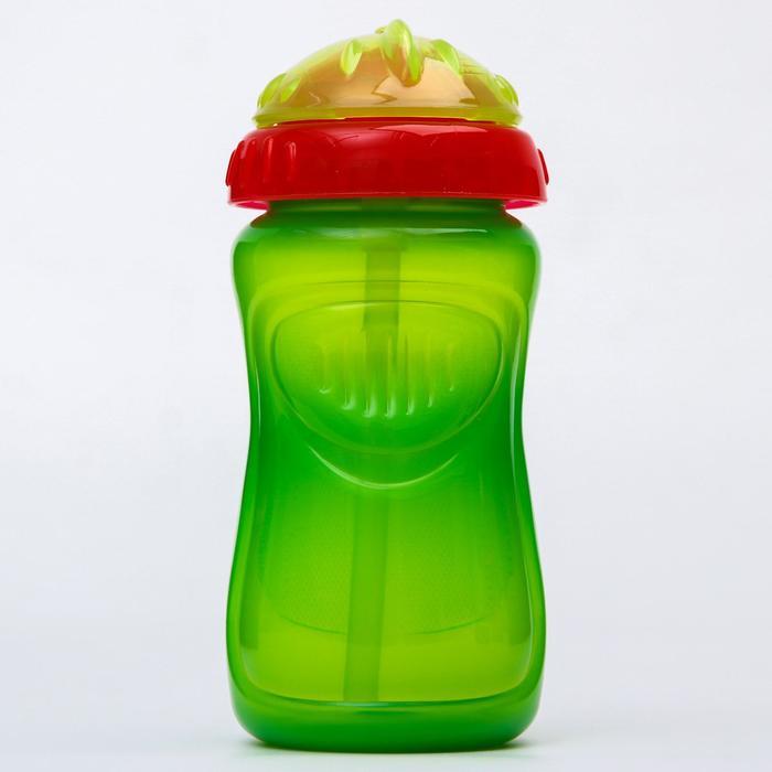 Поильник детский с силиконовой трубочкой, 300 мл., цвет зеленый - фото 495342