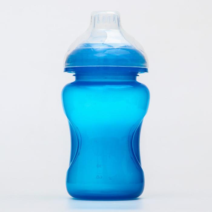 Поильник детский с мягким носиком, 300 мл., цвет голубой - фото 495346