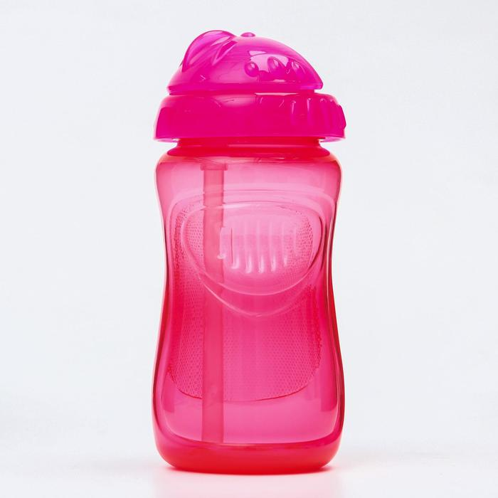 Поильник детский с силиконовой трубочкой, 300 мл., цвет розовый - фото 495364