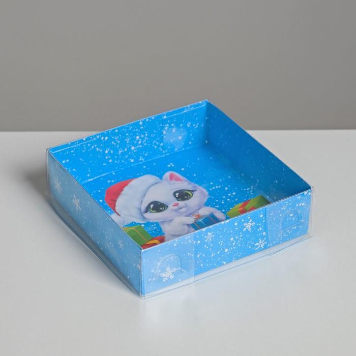 Коробка для кондитерских изделий «Котик», 12 × 12 × 3 см