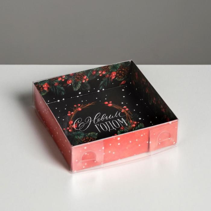 Коробка для кондитерских изделий «Новогодний венок», 12 × 12 × 3 см