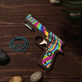 Сувенир деревянный «Резинкострел, радужные линии» + 4 резинки