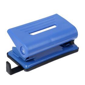Дырокол на 10 листов, пластиковый, Attomex с линейкой, синий