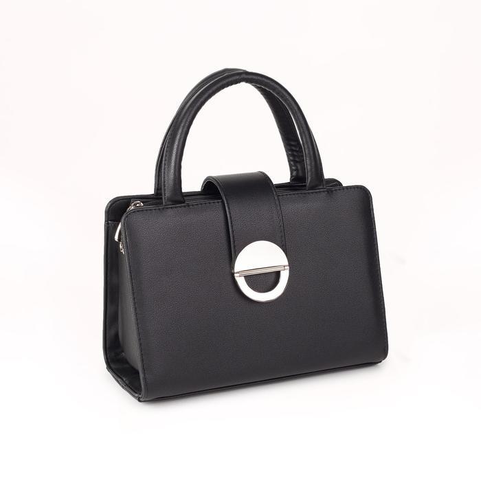 Сумка женская, отдел на молнии, наружный карман, длинный ремень, цвет чёрный - фото 54290