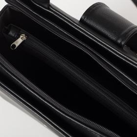 Сумка женская, отдел на молнии, наружный карман, длинный ремень, цвет чёрный - фото 54292