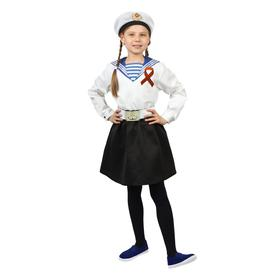 Sailor suit in a cap, white flank, skirt, belt, R-R. 32, height 110-116