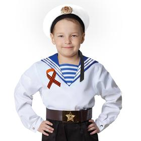 Карнавальная белая фланка моряка, лента 40 см, р. 32, рост 110-116 см