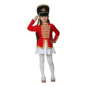 Карнавальный костюм «Мажоретка», китель, кивер, юбка, р. 28, рост 98-104 см
