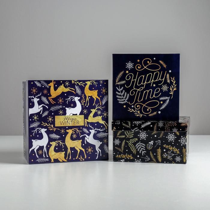 Набор подарочных коробок 3 в 1 «Новогодний», 18 × 18 × 10‒22 × 22 × 12 см - фото 483949