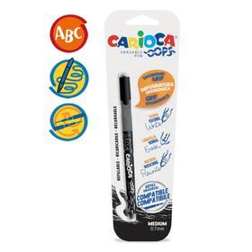 """Ручка капиллярная Carioca Oops """"Пиши-стирай"""", 0.7 мм, черная, в блистере"""
