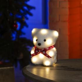 "Фигура световая ""Медведь в бабочке"", 13 LED, 12х9х8 см, фиксинг, от батар., Т/БЕЛЫЙ"