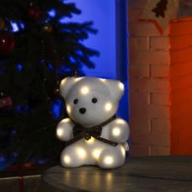 """Фигура световая """"Медведь с бантиком"""", 20х12х7 см, фиксинг, от батареек, Т/БЕЛЫЙ"""