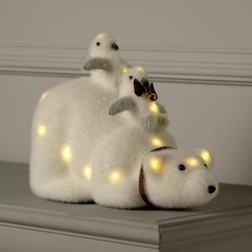 "Фигура световая ""Медведь с пингвинами"", 19 LED, 21х28х15 см, фиксинг, от батареек, Т/БЕЛЫЙ"
