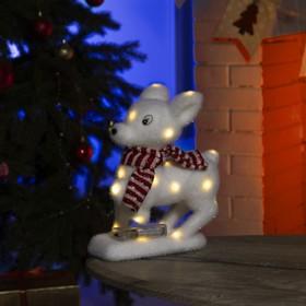 """Фигура световая """"Олененок в красном шарфе"""", 23 LED, 26х18х14 см, фиксинг, от батар., Т/БЕЛЫЙ"""