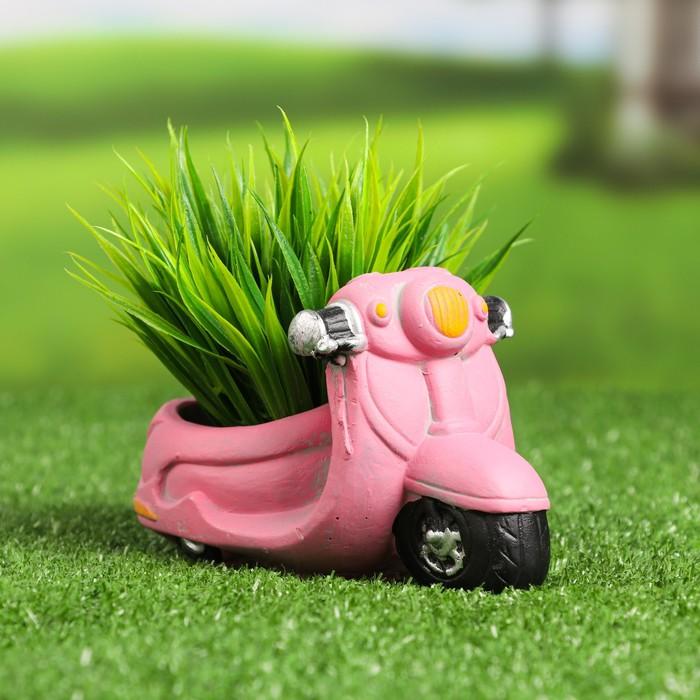 "Кашпо фигурное ""Мотоцикл"" розовое, 17*8, 5*9см - фото 495440"