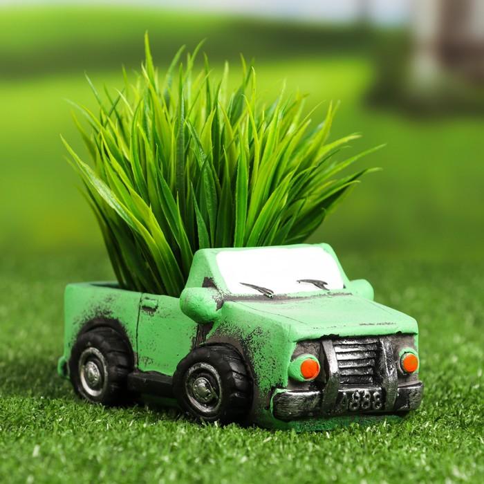 """Кашпо фигурное""""Машинка"""" зеленое, 14*6,5*7см - фото 495470"""
