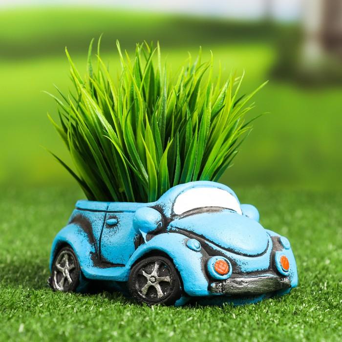 """Кашпо фигурное """"Машинка"""" синее, 13*6,5*7см - фото 495475"""