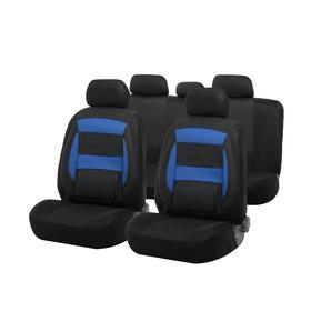 Car seat covers Cartage universal, 11 pieces, anatomical, PU inserts, black-blue