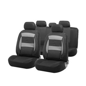 Car seat covers Cartage universal, 11 pieces, anatomical, PU inserts, black-gray