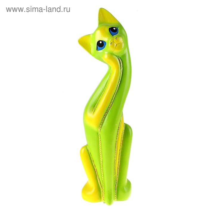 "Копилка ""Кошка Муся"" зелёно-жёлтая"