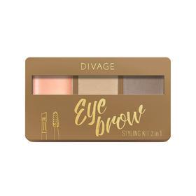 Набор для бровей с воском Divage Eyebrow Styling Kit 3 in 1, № 01