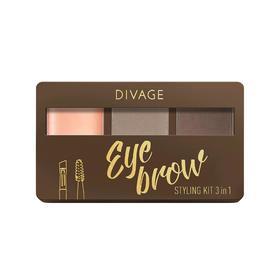Набор для бровей с воском Divage Eyebrow Styling Kit 3 in 1, № 02