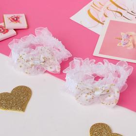 """Резинка для волос """"Рюши"""" (набор 2 шт) банты с цветами, белый"""