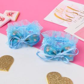 """Резинка для волос """"Рюши"""" (набор 2 шт) банты с ленточками, голубой"""
