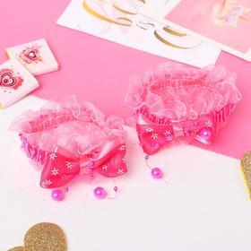 """Резинка для волос """"Рюши"""" (набор 2 шт) банты со звёздами, малиновый"""