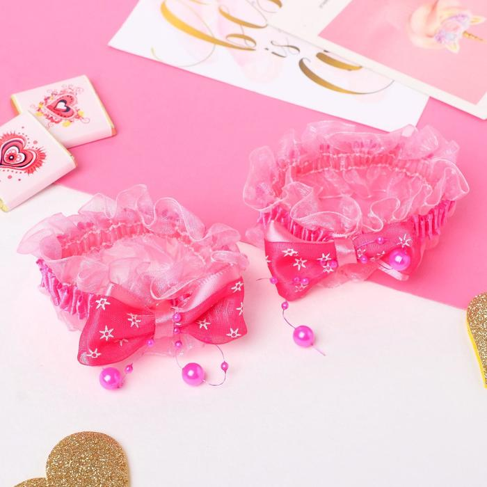 """Резинка для волос """"Рюши"""" (набор 2 шт) банты со звёздами, малиновый - фото 466020"""