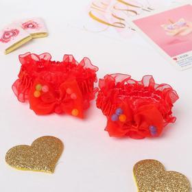"""Резинка для волос """"Рюши"""" (набор 2 шт) банты с шариками, красный"""