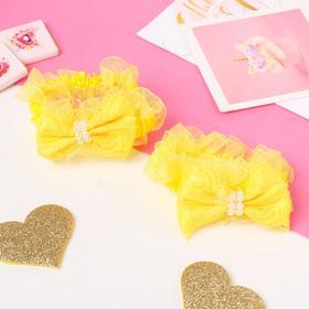 """Резинка для волос """"Рюши"""" (набор 2 шт) банты с бусинками и кружево, жёлтый"""