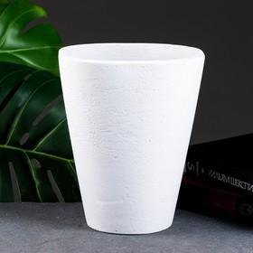 """Горшок цветочный """"Конус высокий квадрат"""" белый, 2,2 л, бетон"""