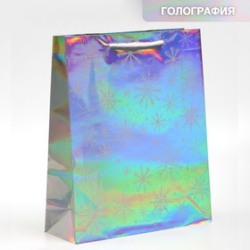 "Holographic vertical package ""Happy New Year"", M 26 x 30 × 9 cm"