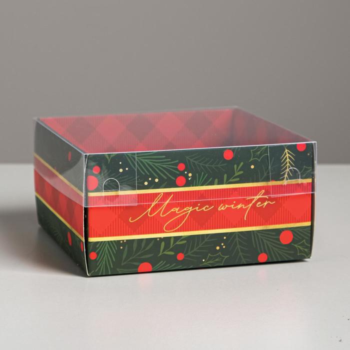Коробка для кондитерских изделий с PVC крышкой Magic winter, 12 х 6 х 11,5 см