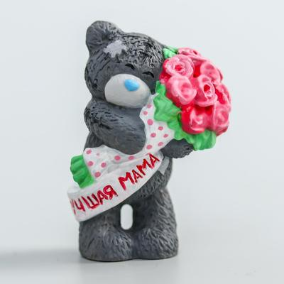 """Polystone souvenir """"Bear Me to you with a bouquet of pink roses-the Best mother"""" 4.5 cm"""