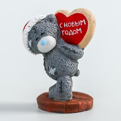 """Polystone souvenir """"Bear Me to you new year with a heart-Happy New year"""" 4.5 cm"""